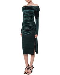 Akris Ruched Off The Shoulder Velvet Midi Dress