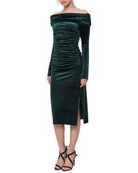 Ruched off the shoulder velvet midi dress medium 6697756