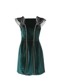 Self-Portrait Velvet Frill Shoulder Mini Dress