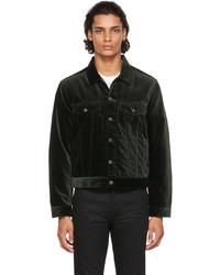 Seekings Green Velvet Signature Trucker Jacket