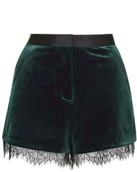 Soft velvet shorts with lace trim to hem tailored in a fluid silhouette 91 polyester 9 elastane wash with similar colours medium 122808