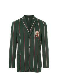 Dark Green Vertical Striped Blazer