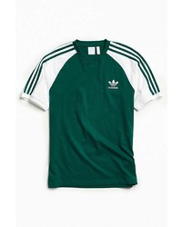 Dark Green Vertical Striped Crew-neck T-shirt