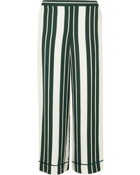 Oscar de la Renta Striped Crepe Straight Leg Pants