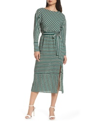 Charles Henry Striped Midi Dress