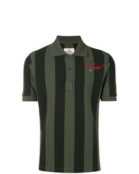 Dark Green Vertical Striped Polo