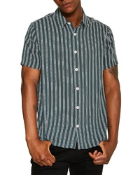 Dark Green Vertical Striped Short Sleeve Shirt