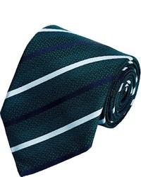 Ermenegildo Zegna Diagonal Striped Jacquard Necktie Green