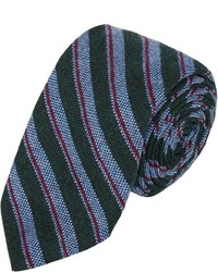 Barneys New York Mixed Stripe Jacquard Neck Tie Green