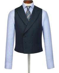 Charles Tyrwhitt Dark Green British Hopsack Luxury Classic Fit Suit Vest