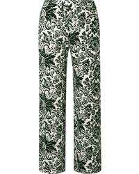 Rosie Assoulin Flocked Jersey Wide Leg Pants