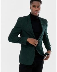 ASOS DESIGN Skinny Blazer In Green Wool Mix