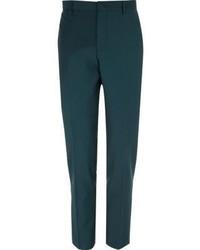 River Island Dark Green Wool Blend Skinny Suit Pants