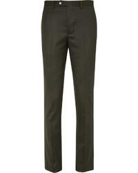 Officine Generale Green Paul Slim Fit Wool Flannel Suit Trousers