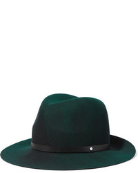 Leather trimmed wool felt fedora forest green medium 964521