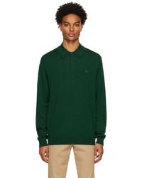 Lacoste Green Merino Wool Long Sleeve Polo