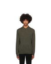 Z Zegna Green Wool Knit Polo