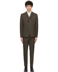 Ermenegildo Zegna Couture Green Wool Mohair Canvas Suit