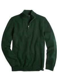 Dark Green Zip Neck Sweater