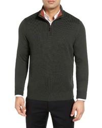 Thomas Dean Merino Wool Quarter Zip Sweater
