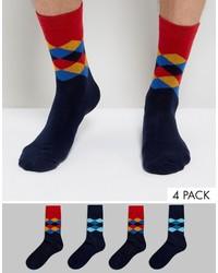Jack and Jones Jack Jones Socks 4 Pack Argyle
