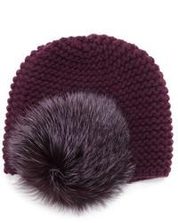 Inverni Fur Pom Pom Beanie Hat