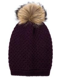 Inverni Raccoon Fur Pompom Beanie