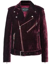 Etro Matelass Velvet Biker Jacket Plum