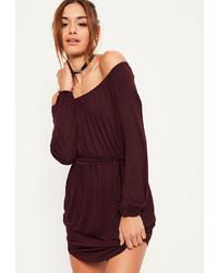 Missguided Burgundy Bardot Curve Hem Dress