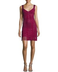 Herve Leger Sleeveless Grommet Fringe Skirt Bandage Dress