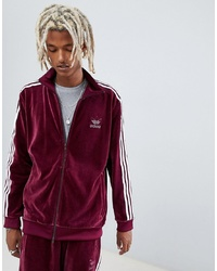 adidas Originals Velour Track Jacket In Red Dh5789