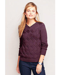 Drifter textured cable v neck sweater medium 173063