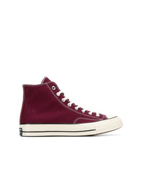 Dark Purple Canvas High Top Sneakers