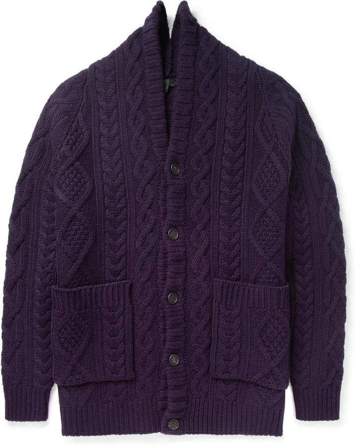 Burberry Prorsum Oversized Chunky Cable Knit Cashmere Cardigan ...