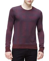 London tonal check print sweater burgundy medium 333417