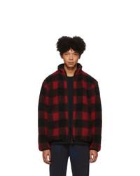 John Elliott Reversible Red And Black Polar Fleece Buffalo Check Zip Up Jacket