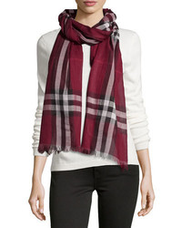 Burberry Giant Check Woolsilk Scarf Purple