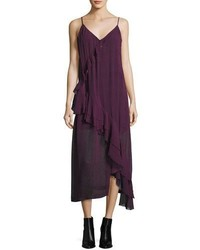 IRO Granby V Neck Midi Tank Dress Dark Red