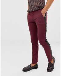 Twisted Tailor Skinny Fit Trouser In Burgundy With Sequin Stripe