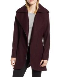 Halogen Asymmetrical Zip Wool Blend Coat