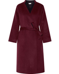 Paul & Joe Boucledor Belted Wool Felt Coat Burgundy