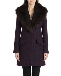 Belle Badgley Mischka Holly Faux Fur Collar Boucle Coat