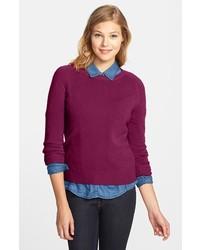 Halogen Long Sleeve Crewneck Cashmere Sweater Purple Dark X Large