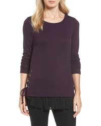 Layer look lace up sweater medium 4950700