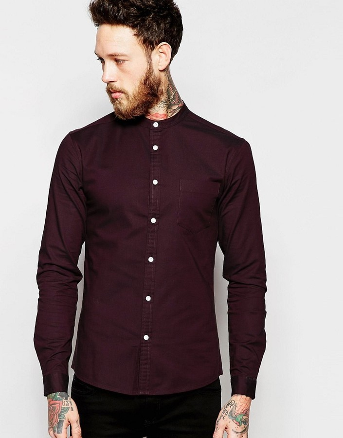 465ddb65df0e ... Dress Shirts Asos Brand Skinny Oxford Shirt In Burgundy With Grandad  Collar And Long Sleeves ...