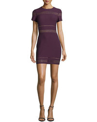 Elizabeth and James Ari Short Sleeve Fitted Dress Plum