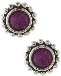 Lagos Maya Round Charoite Doublet Stud Earrings