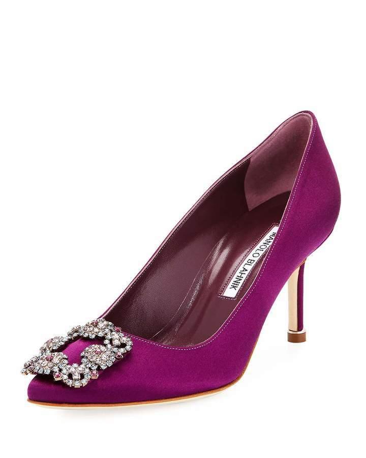 d36ea42691b ... Manolo Blahnik Hangisi 70mm Satin Embellished Pump Bright Purple ...