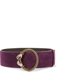 Lanvin Embellished Suede Waist Belt Purple