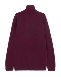 Balenciaga Embroidered Wool And Cashmere Blend Turtleneck Sweater